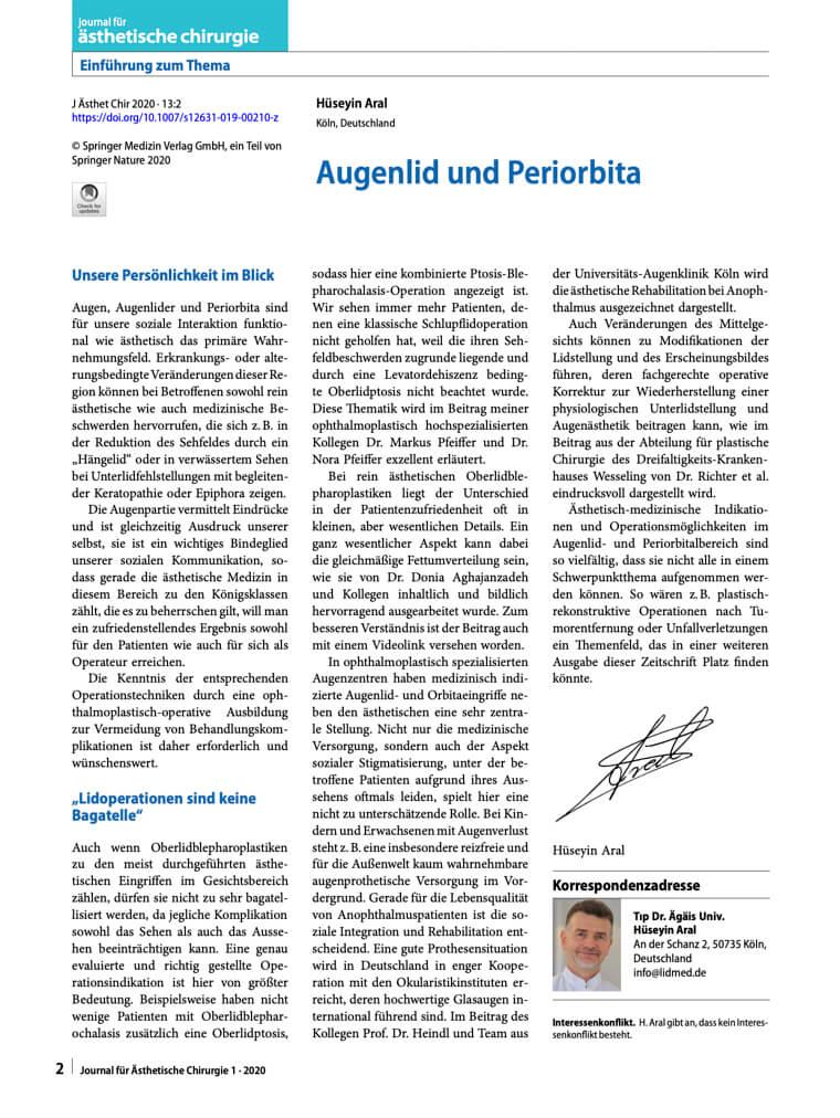 Dr. Aral: Augenlid und Periorbita - Editorial